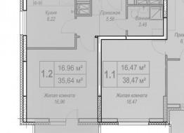1-комнатная квартира, 36 м²