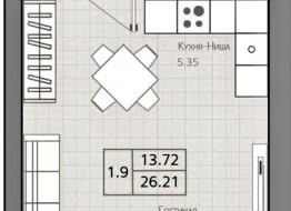 1-комнатная квартира, 26.21 м²