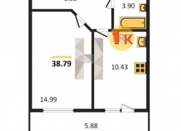 1-комнатная квартира, 38.79 м²